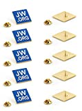 """JW.ORG Square Gold Lapel Pin Jehovah Witness - 1"""" Square Blue Lapel Pin - JW.org Neck Tie Hat Tack Clip Women or Men Suits -10 Pack"""