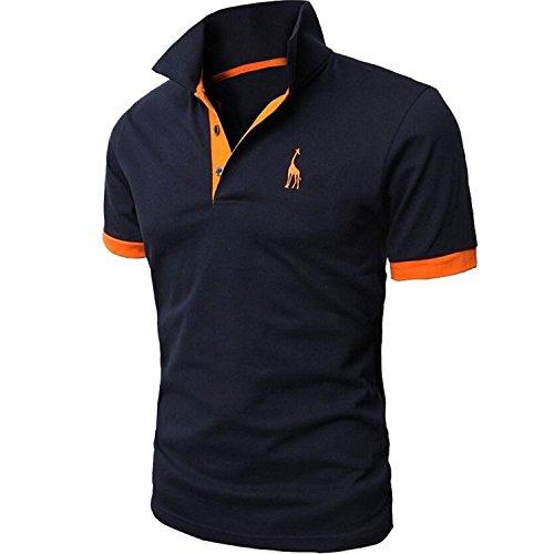 夏 服メンズ, Plade メンズ 半袖 ポロシャツ 修身 半袖 Tシャツ 開襟シャツカッコイイスポーツウェア ゴルフウェア (3XL, F)