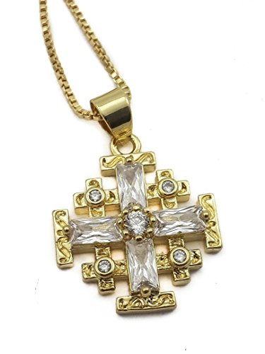 Jerusalem Stone Necklace - Gold Plated Silver Catholic Jerusalem Cross Pendant Clear Topaz Crystal Stone Necklace 20