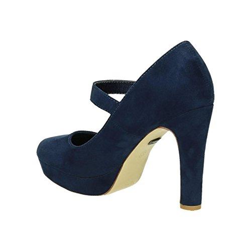 King Of Shoes Damen Riemchen Mary Jane Pumps Plateau High Heels Blockabsatz 317 Navy