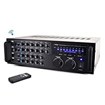 PYLE-PRO Pyle PMXAKB1000 Bluetooth 1000-Watt Karaoke Mixer with Two Microphone Inputs, RCA Audio/Video and Rack Mountable
