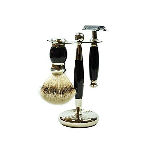 Golddachs Germany Shaving Set, Double Edge Razor, Silvertip Badger Brush, Chrome Stand, Black, Made In Germany, 3 Piece by GOLDDACHS Germany