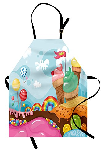 Ambesonne Ice Cream Apron, Dessert Land with Rainbow Candies Lollipop Trees and Cupcake Mountains Cartoon, Unisex Kitchen Bib with Adjustable Neck for Cooking Gardening, Adult Size, Pink Blue ()