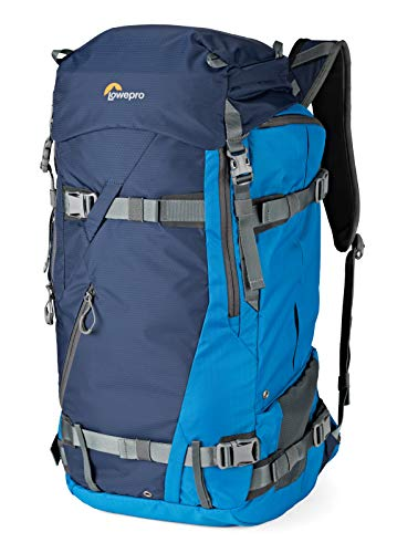 Lowepro Powder BP 500 AW Outdoor Backpack (Blue) for Walking, Hiking, Trekking and Winter Sports for Photo/Video Equipment and Personal Items (Fits DSLR/Mirrorless and Accessories) (Dslr Lowepro Video)