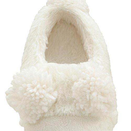 Pantofole Da Casa In Peluche Con Suola Morbida Best-white Da Donna-1