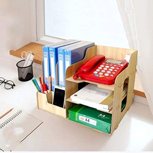 頑丈 ペンホルダーファイルボックス、木製多機能、丈夫なテーブルストレージボックス、マガジンフォルダ事務所ディスプレイスタンドラック (Color : A)