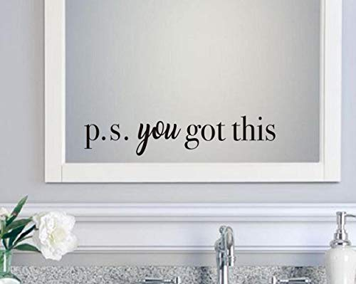 Decal Sticker Mirror - IARTTOP You Got This Wall Decal Inspirational Attitude Vinyl Wall Sticker for Office, Bathroom Mirror Decal, Family Lettering Stickers Home Wall Decorations, Black
