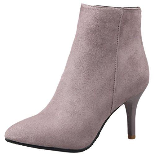 COOLCEPT Mujer Moda Tacon Alto Ankle Botas With Cremallera Vestir Zapatos Pink