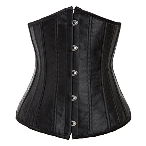 Moonight Women's Black 24 Spiral Steel Boned Satin Underbust Waist Training Corset