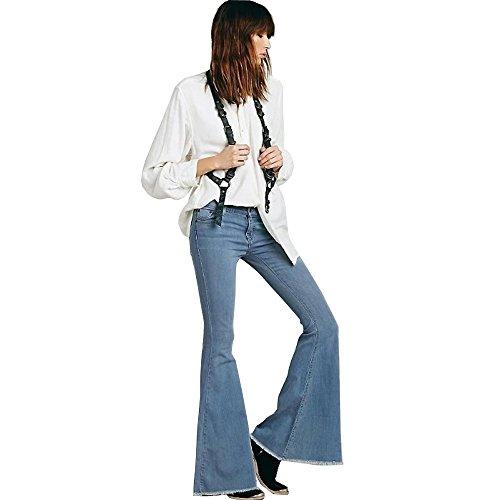 Skinny Wide Leg Jeans (C360 Vintage Low Waist Elastic Jeans Women Retro Style Bell Bottom Skinny Jeans Female Dark Blue Wide Leg Denim Pants (26, Blue))