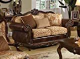 ACME 50156 Remington Bonded Leather and Fabric Loveseat, Brown Cherry Finish
