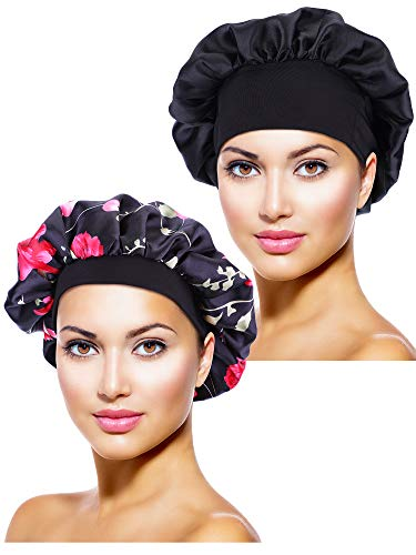 (Blulu 2 Pieces Satin Bonnet Night Sleep Cap Sleeping Head Cover for Women Girl Sleeping (Black, Black Flower)