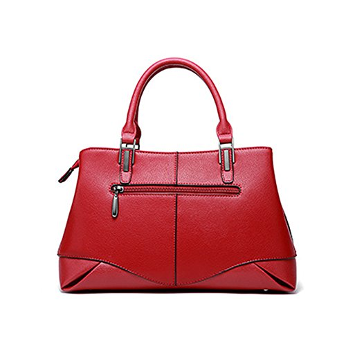 Handbags Q0929 red Leather Multiple Soft Dissa Pockets Bag Women Shoulder 8qwAxdF