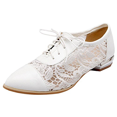 White Escarpins Femmes Mode Razamaza Lacets pUBIw6n