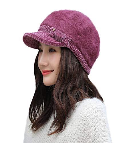 Putars Small Bow Braided Baggy Knit Crochet Beanie Hat Ski Cap Comfortable Cap ()