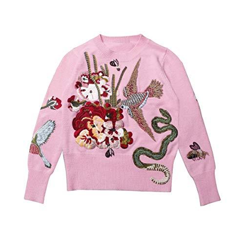 L Uccello Cordone Donne Abbigliamento Pista Femmina Sikesong Tops Vintage Ricamo Inverno Cristallo E Natale In La Ponticello Pullover Di Maglione xl gwI1AR