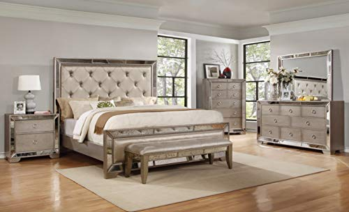 Best Master Furniture Ava Mirrored 6 Pcs Bedroom Set with 5 Drawer Chest, King, Silver/Bronze