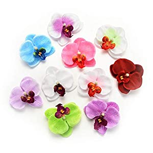 Fake flower heads in Bulk Wholesale for Crafts Fashion Orchid Artificial Flowers DIY Butterfly Orchid Cloth Fake Flowers Bouquet Party Wedding Decoration Artificial Flowers 30pcs 6.5cm (Colorful) 13