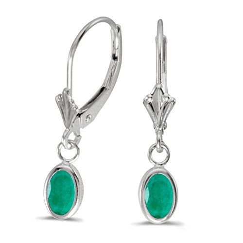 14k White Gold Dangle Genuine Green Birthstone Oval Emerald Bezel Lever-back Earrings (0.62 Cttw.) ()