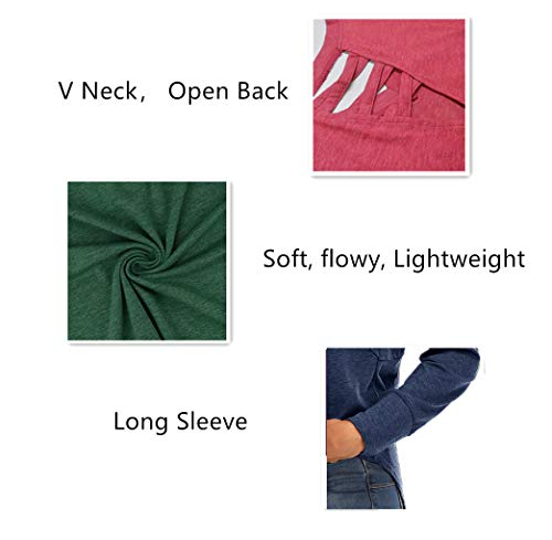 Qaralu Long Sleeve Criss Cross Back Tunic Tops for Women V Neck Casual Loose Blouses Shirts Green