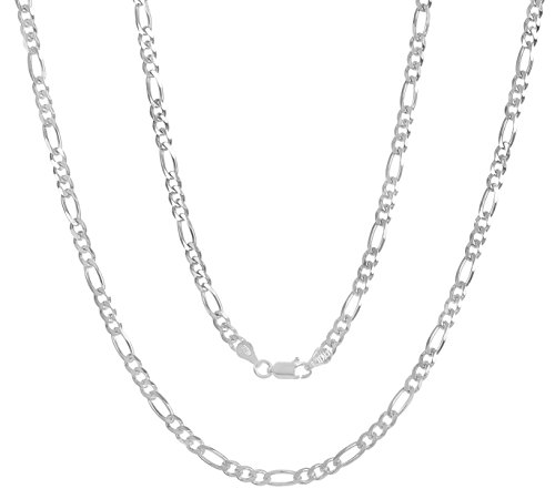 Sterling Silver 24 Link Chain (3.8mm 925 Sterling Silver Nickel-Free Figaro Link Chain, 24