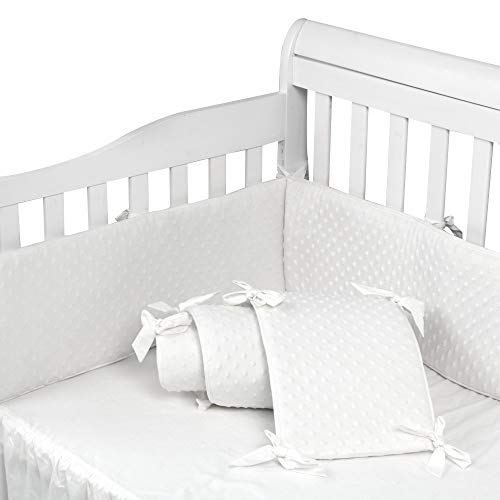 Baby Crib Bumper Pads for Standard Cribs Machine Washable Padded Crib Liner 100% Silky Soft Microfiber Polyester, 4 Pcs/White ...
