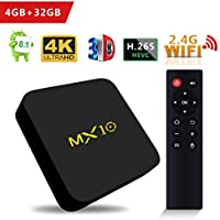 SCS ETC TV Box - MX10 Android 8.1 TV Box 4GB + 32GB Rockchip RK3328 Quad-Core 64 Bits Support WiFi 100M LAN 3D 4K HDR Smart TV Box with 2.4G Remote - 2018 Updated Version
