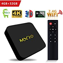 SCS ETC TV Box -MX10 with Android 8.1 OS, Features 4GB + 32GB Rockchip RK3328 Quad-Core 64 Bits, Support WiFi 100M LAN 3D 4K HDR, Smart TV Box with 2.4G Remote - 2018 Updated Version