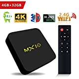 SCS ETC TV Box - MX10 Android 8.1 TV Box 4GB + 32GB Rockchip RK3328 Quad-Core 64 Bits Support WiFi 100M LAN 3D 4K HDR Smart TV Box with 2.4G Remote