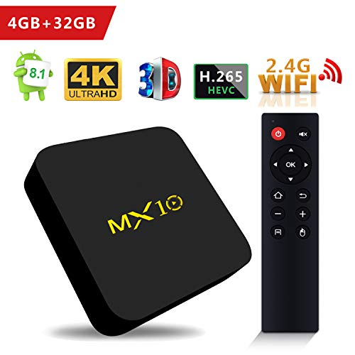 SCS ETC TV Box - MX10 Android 8.1 TV Box 4GB + 32GB Rockchip RK3328 Quad-Core 64 Bits Support WiFi 100M LAN 3D 4K HDR Smart TV Box with 2.4G Remote - 2018 Updated Version -
