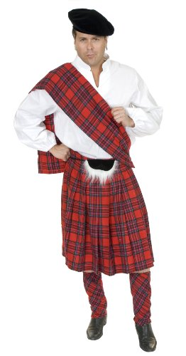 [CH02012 (XL) Adult Scottish Kilt Costume] (Braveheart Fancy Dress Costume)