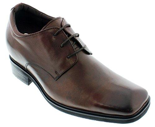 calto–g62323–9,1cm Grande Taille–Hauteur Augmenter Chaussures ascenseur (Marron foncé à lacets Square-Toe)