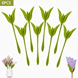 Napkin Holders for Tables, 8 pcs Green Stemmed Plastic Twist Flower Buds Serviette Holders for Making Original Table Arrangements Party Supplies
