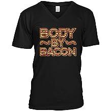 Amdesco Men's Body By Bacon, Funny Pork Bacon Love V-Neck T-Shirt