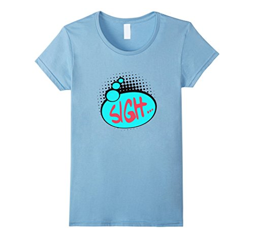 Womens Retro Style Comic Pop Shirt Vintage Classic 60s 70s 80s Tee Medium Baby Blue (70s Or 80s Clothing)