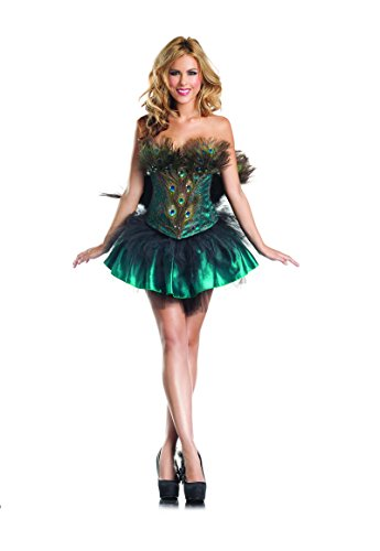 Peacock Sexy Costumes (Be Wicked Princess Peacock Costume, Green/Gold, Small/Medium)