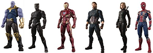 Avengers Infinity War  Thanos  Iron Spider  Captain America  Black Widow  Black Panther  Iron Man Figure Set
