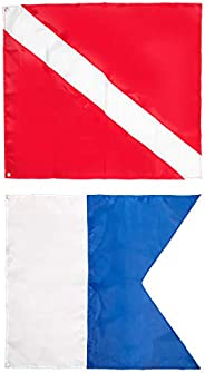 Dawitrly Safety Dive Flags, 2Pieces Polyester Diver Down Flag + International Signal Alpha Flag 20x24inches Us