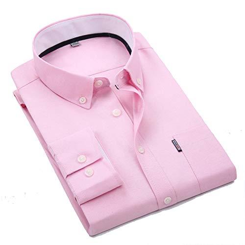 Men's Non Iron Regular Fit Banker Stripe Point Collar Dress Shirt 7-Color Shirt Men,38/M,Pink