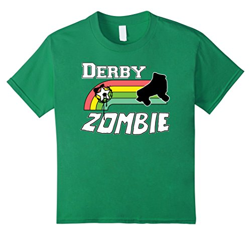 Roller Girl Costume Ideas (Kids Roller Derby Zombie Halloween Costume T Shirt 12 Kelly Green)