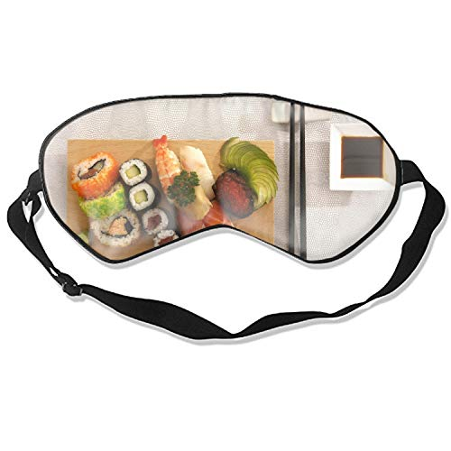 Food Sushi Rolls Seafood Red Caviar Delicious Eye Mask for Sleeping Puffy Eyes, Travel, Meditation, Insomnia & Migraine. Soft Night Blindfold & Adjustable Band