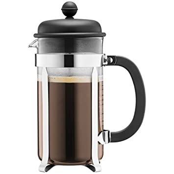 Bodum Caffettiera French Press Coffee Maker, Black Plastic Lid and Stainless Steel Frame, 8-Cup, 34-Ounce