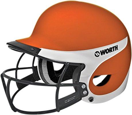 (Worth Liberty Away Softball Batting Helmet With Mask (Orange/White))