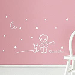 Hatop Stars Moon the Little Prince Boy Wall Sticker Home Decor Wall Decals Kids Bedroom (White)