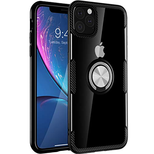 iPhone 11 Pro Max Case 6.5 inch 2019, Carbon Fiber Design Clear Crystal Anti-Scratch Case with 360 Degree Rotation Ring Kickstand(Work with Magnetic Car Mount) for Apple iPhone 11 Pro Max,Black