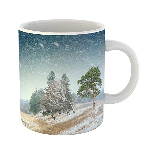 Emvency Coffee Tea Mug Gift 11 Ounces Funny Ceramic Brown November First Snow in Forest Yellow Storm Fall Gifts For Family Friends Coworkers Boss Mug