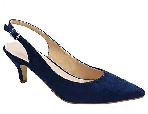 Greatonu Womens Blue Adjustable Sling Back Low Heel Dressy Pumps Size 8 - Blue Suede Pump Shoes