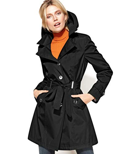- Calvin Klein Petite Hooded Single-Breasted Trench Coat