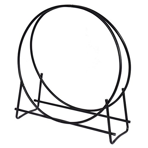 Goplus 40-Inch Tubular Steel Log Hoop Firewood Storage Rack Holder Round (Tubular Log Rack)