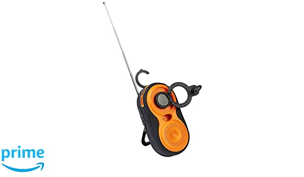 2PO Adventure Gear Batteryless Dynamo Wind-Up AM//FM Water-Resistant Radio with USB and Hook